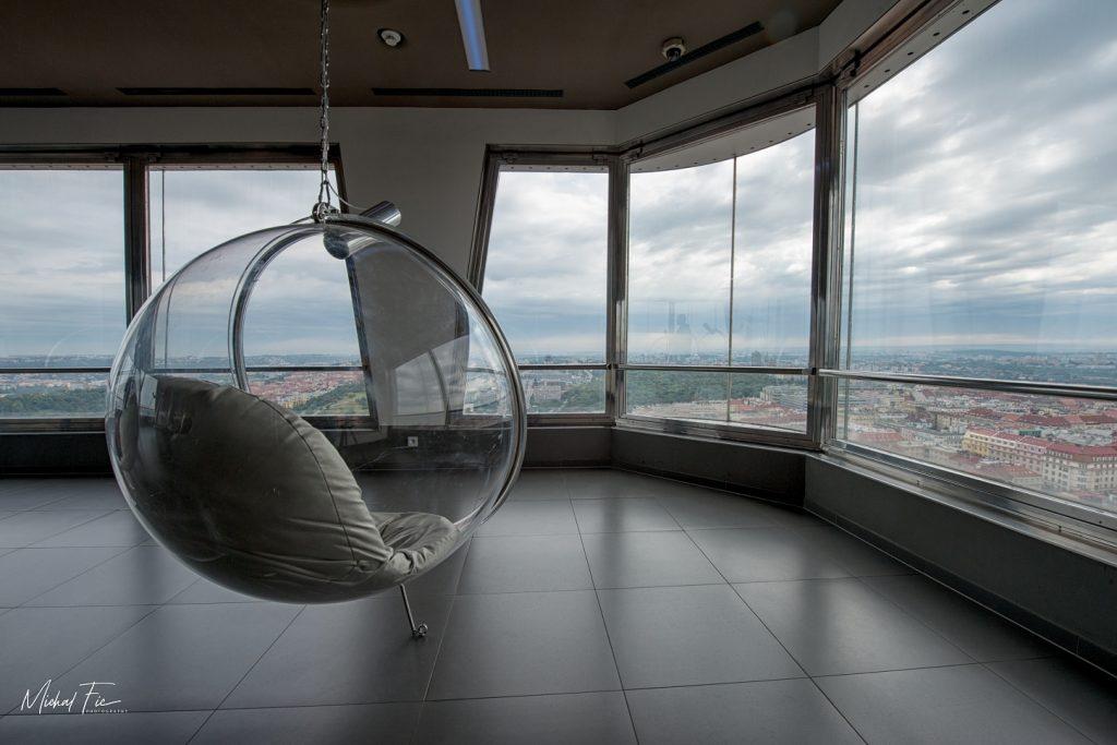 Žižkovský vysílač - výhled na Prahu